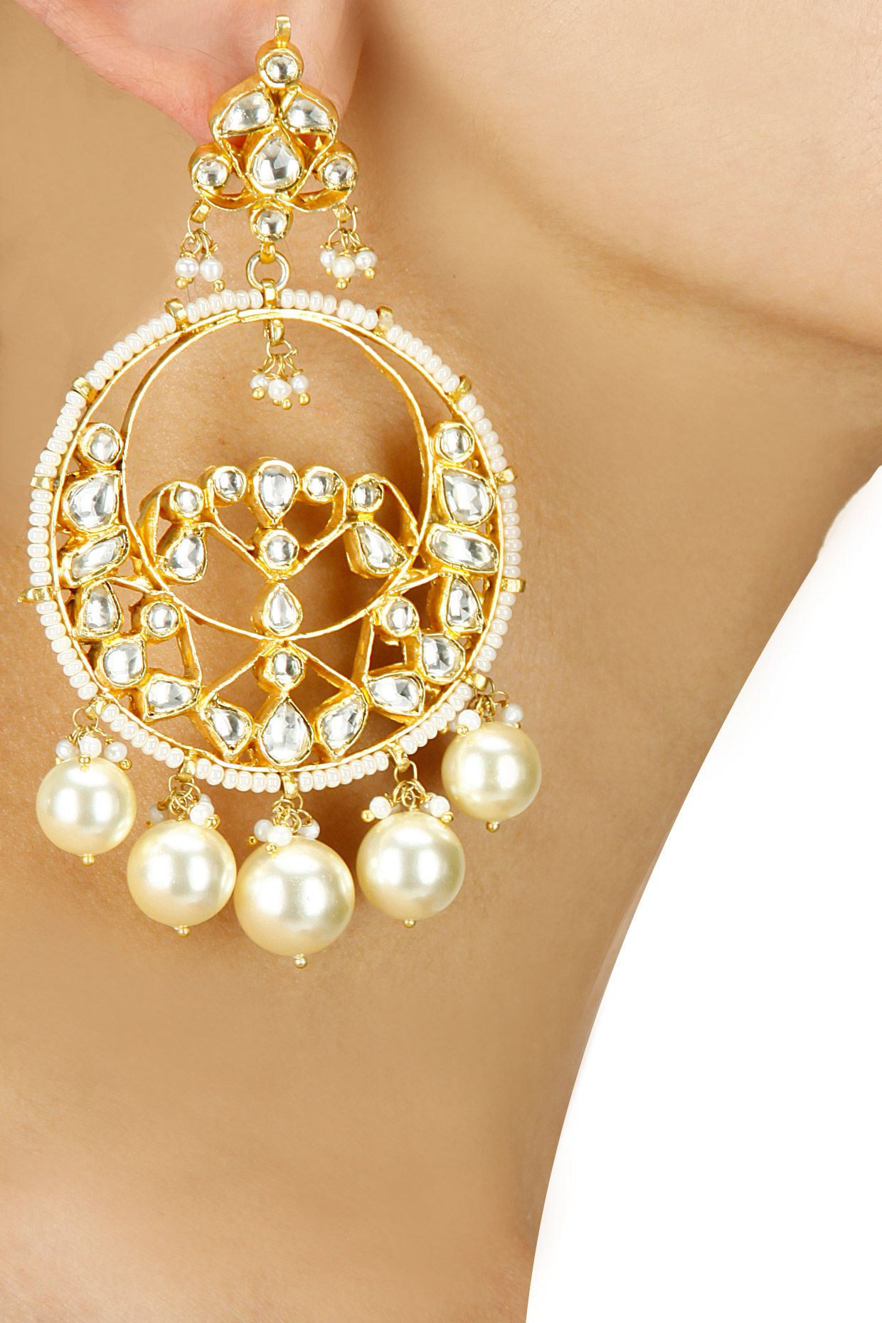 Gold plated crystal and pearl beaded chanbali earrings available