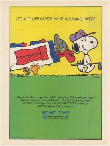 Metlife Car Insurance Quote Stunning 1990 Peanuts Snoopy Woodstock Golf Let Met Life Caddie Your . Inspiration Design
