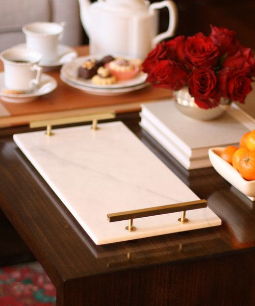 Modern Carrara Marble Serving Tray with Brass Handles custom made