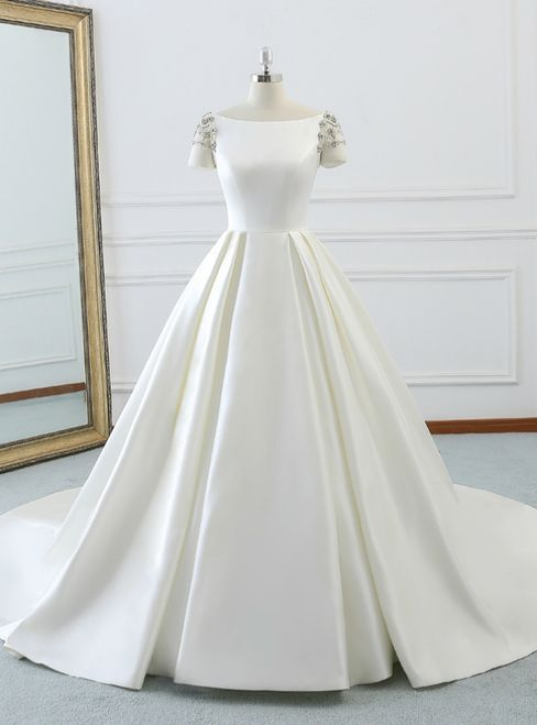 Ivory White Bateau Short Sleeve Satin Backless Wedding Dress With Long Train #shortbacklessdress