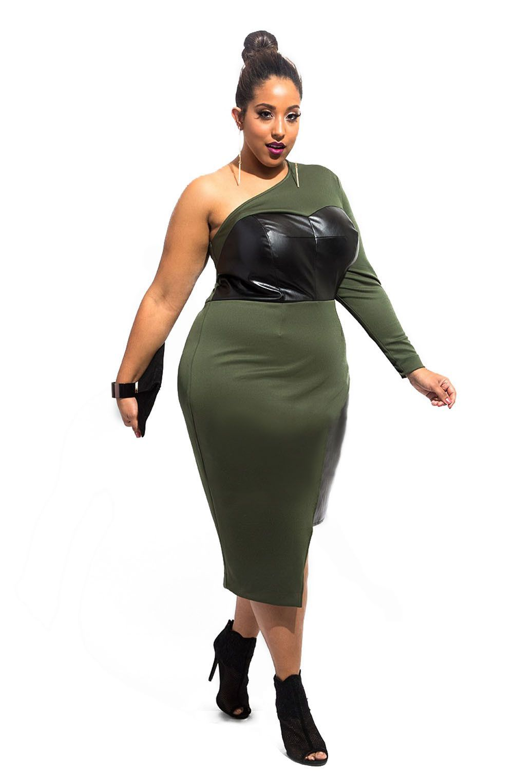 Green One-shoulder Leatherette Bust and Side Plus Size Dress