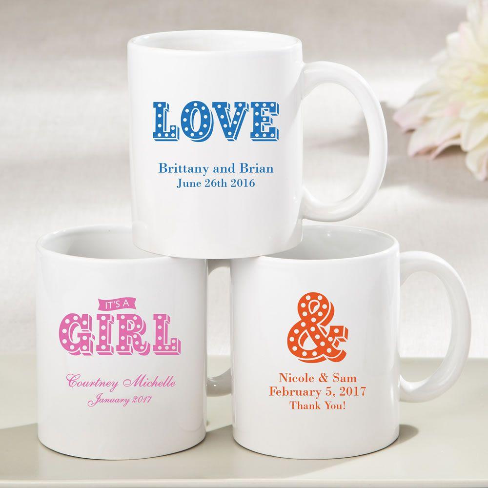 Personalized White Ceramic coffee mug - marquee design | White ...