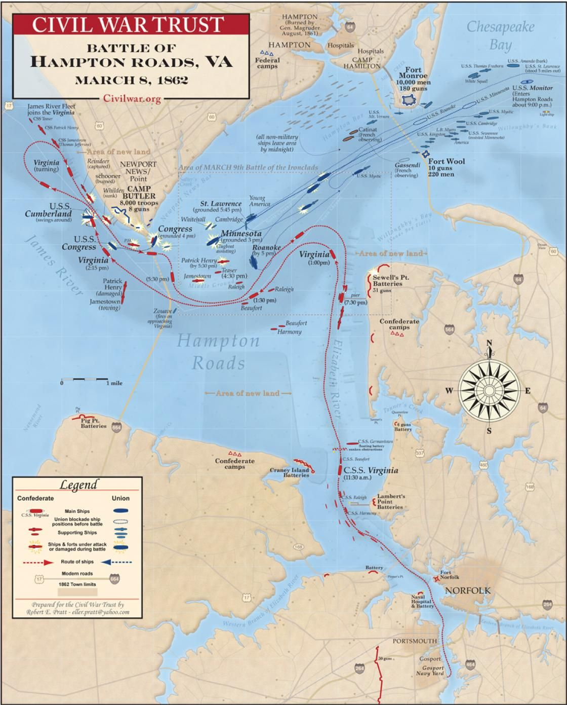 Battle of Hampton Roads or the battle of the ironclads took place in