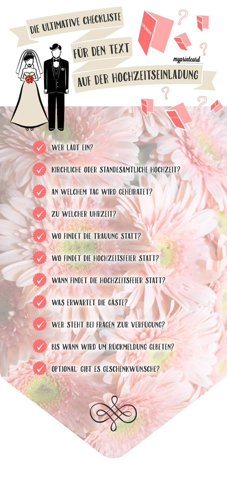 Die Checkliste für den Text auf der Hochzeitseinladung – freetime – Trends