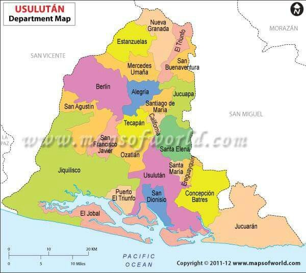 Mapa del departamento Usulutn Cabecera Usulutn Cortesa grupo