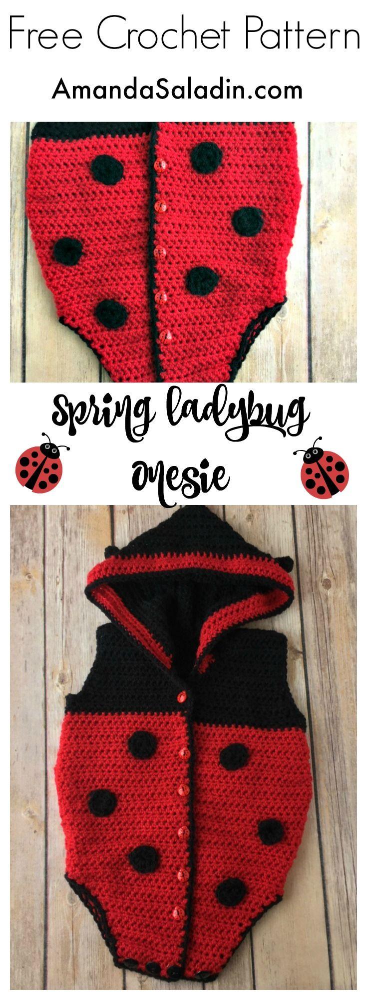 Spring ladybug onesie free crochet pattern free crochet spring ladybug onesie free crochet pattern bankloansurffo Choice Image
