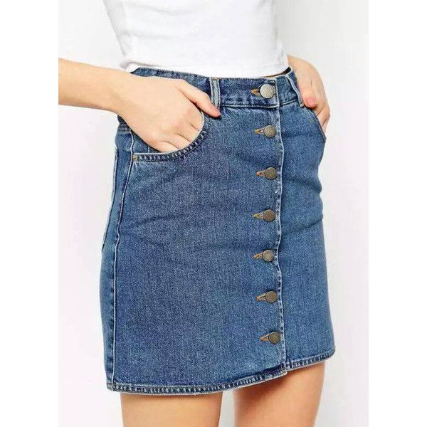 SheIn(sheinside) Blue Single-breasted Denim Skirt (47 MYR) ❤ liked on Polyvore