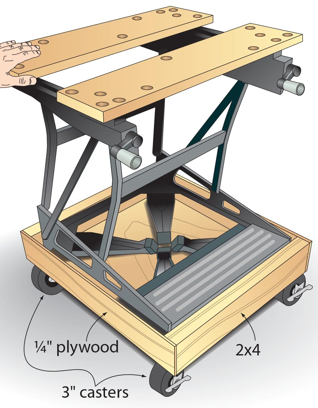 """In my small shop, any tool that doesn't fit on a shelf gets casters added to help me make the most of the space I do have. But in the case of my collapsible workstation, there wasn't a good place to mount casters without interfering with the bench's folding function. So I built this base from 2x4s and 1⁄4"""" plywood, mounting 3"""" locking casters under it. Now, after collapsing the bench, I simply roll it beneath other machines for storage. —Cory Hoehn, Jeffersonville, Ind."""