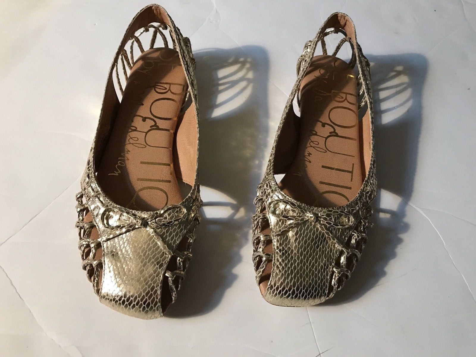 3a13c9035eed02 24.99 ❤ EUC Pre-owned Womens SE BOUTIQUE BY SAM EDELMAN Gold Flats Shoes