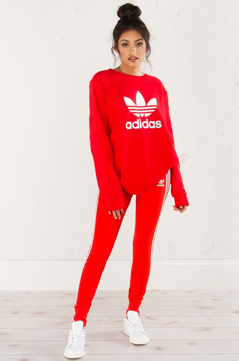 Front View Adidas 3 S Leggings In Corred Red Adidas Outfit Red Leggings Outfit Outfits With Leggings [ 1209 x 800 Pixel ]