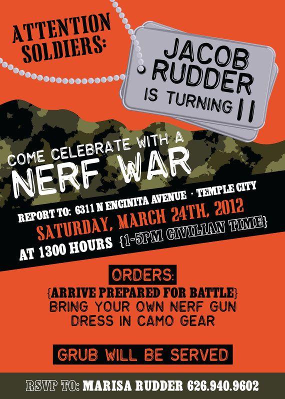 Boys Camo Birthday Party Or Nerf War By Michelepurnerdesigns