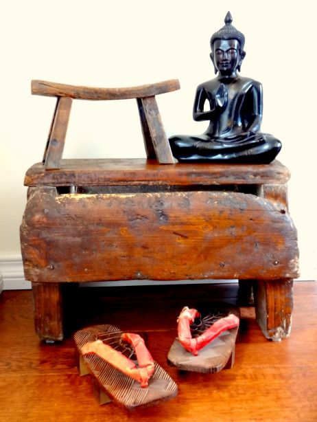 vintage chinese stools, Buddha staute and chinese slippers
