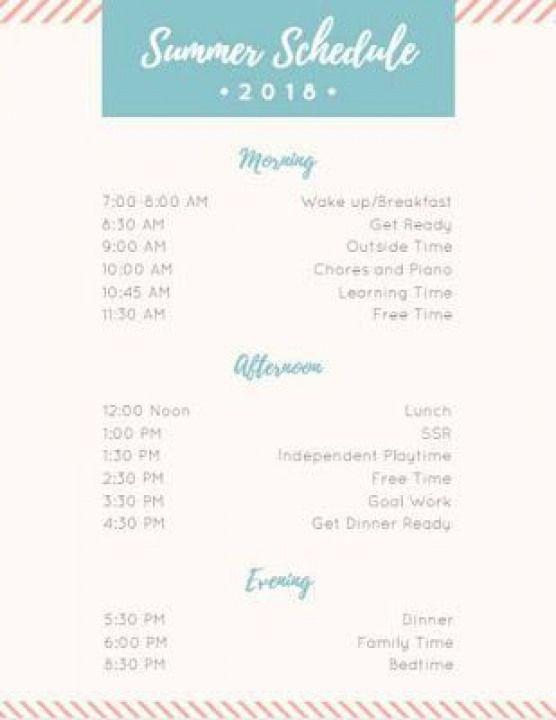 Sample summer schedule. #summer #summerschedule #parentingpreteens #parenting #preteens #middle #school #summerschedule