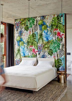 Amazing Schlafzimmer Gestalten Exotische Elemente Tapete Florales Muster Teppich
