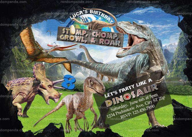 Dinosaur Invitation T Rex Velociraptor Birthday Invite Jurassic