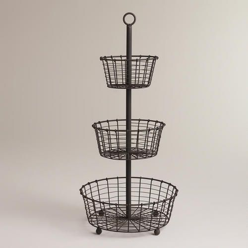 Three Tier Metal Basket Display Stand Tiered Basket Stand Farmhouse Baskets Farmhouse Style Diy