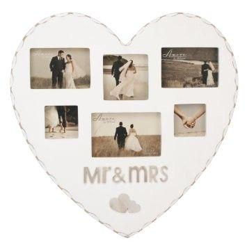 Amore MDF Heart Shaped Multi Aperture Frame - Mr
