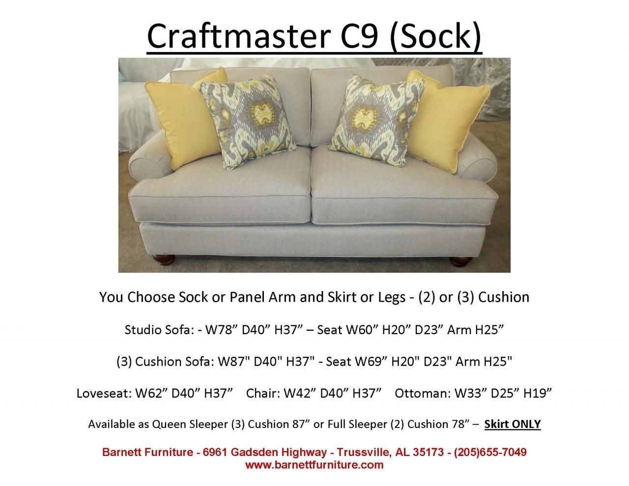 Craftmaster C9 Studio Size Sofa With Sock Arm And Turned Leg You Choose From 2 Arm Styles And Skir Apartment Furniture Cushions On Sofa Apartment Size Sofa