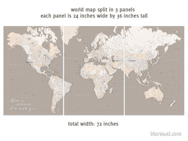 Highly detailed word map poster set in earth tones set of 3 split highly detailed word map poster set in earth tones set of 3 split posters in gumiabroncs Gallery