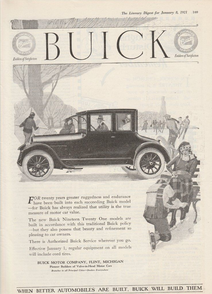 1921 Buick Vintage Ad - black and white - newsprint | Vintage ads ...