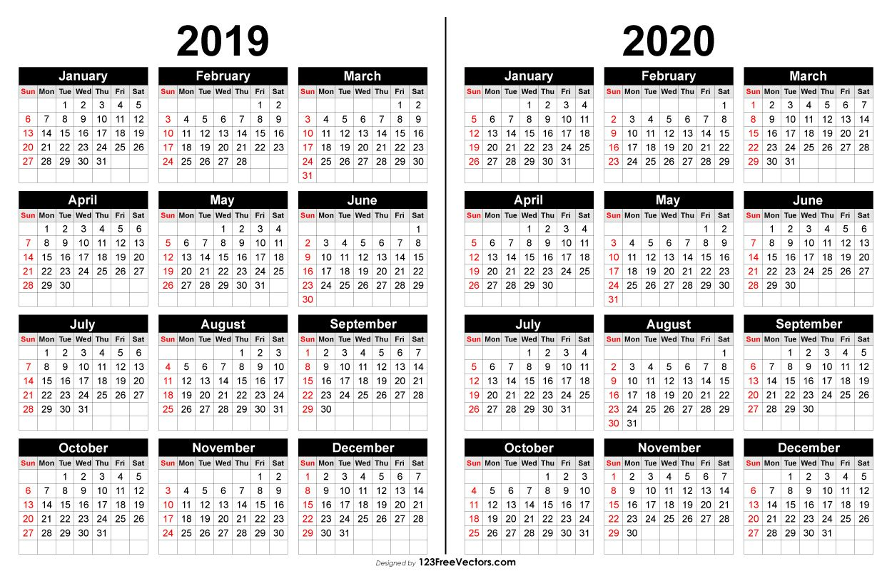 2019 And 2020 Calendar Printable Calendar Printables Free Printable Calendar Yearly Calendar