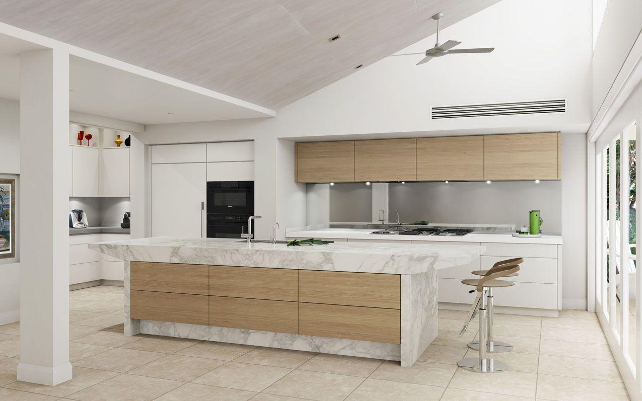 Light Scandinavian Style Kitchen Featuring Calacatta Marble Oak Veneer And Sub Zero Wolf