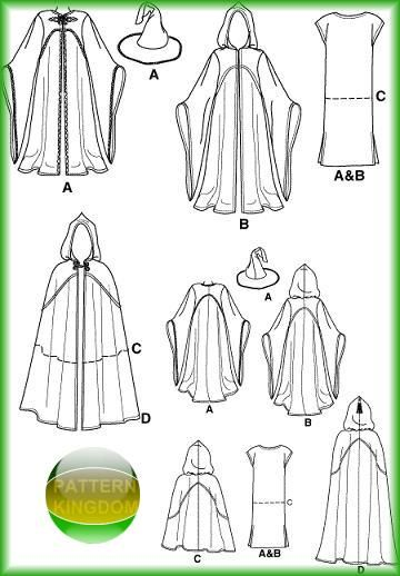 Medieval Cloaks Patterns : medieval, cloaks, patterns, Simplicity, Medieval, Alchemist, Reaper, Cloak, Pattern, Pattern,, Sewing, Patterns,, Clothes