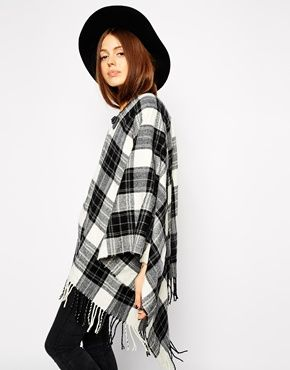 ASOS Black Check Cape