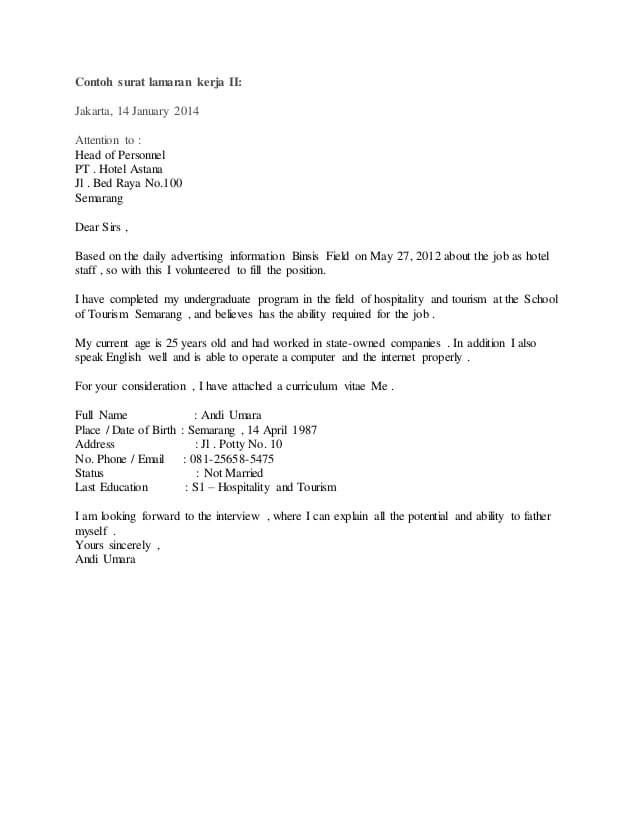 Contoh Surat Lamaran Kerja Ke Hotel : contoh, surat, lamaran, kerja, hotel, Contoh, Surat, Lamaran, Kerja, Bahasa, Inggris, Untuk, Hotel, Surat,, Inggris,