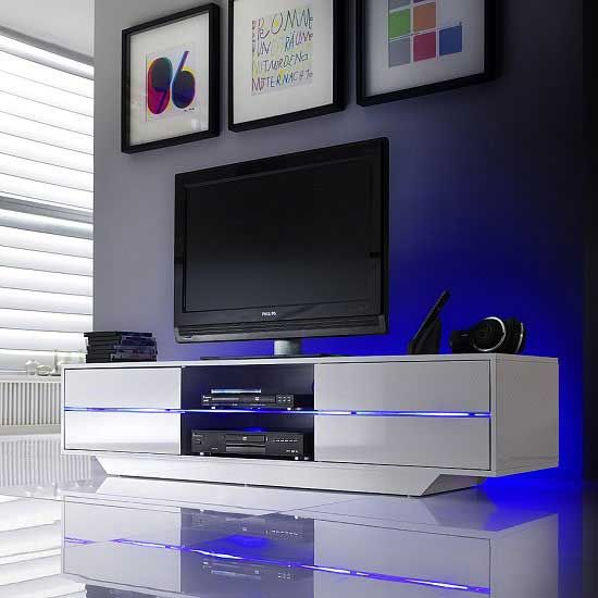 Sienna Tv Stand In White High Gloss With Multi Led Lighting Furniture In Fashion Tv Stand With Led Lights Blue Tv Stand Tv Unit