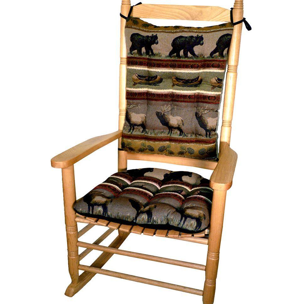 Woodlands Northwoods Rocking Chair Cushion Set - Bear | Rocking ...