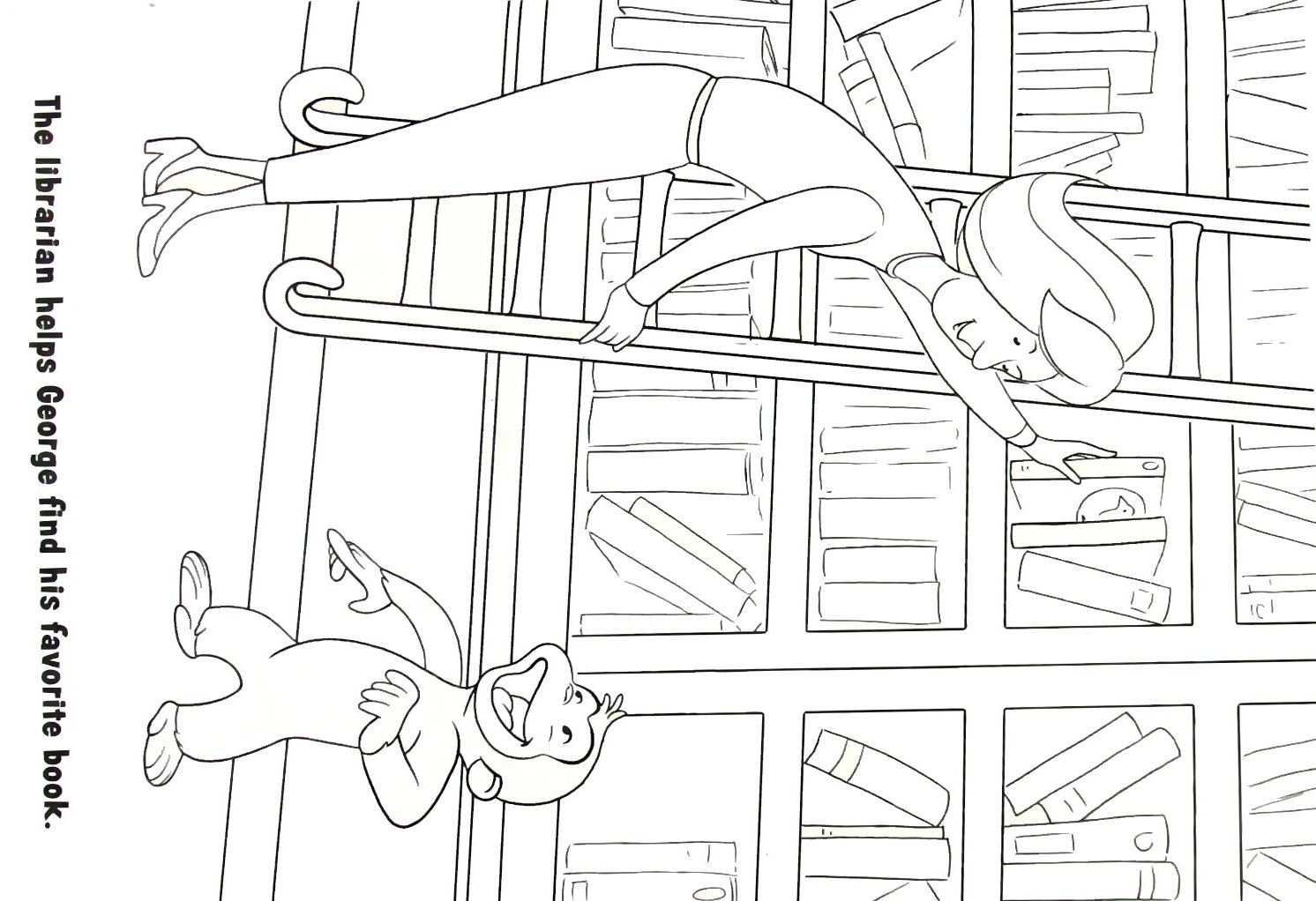 Curious in the Library Coloring Book Page Printable