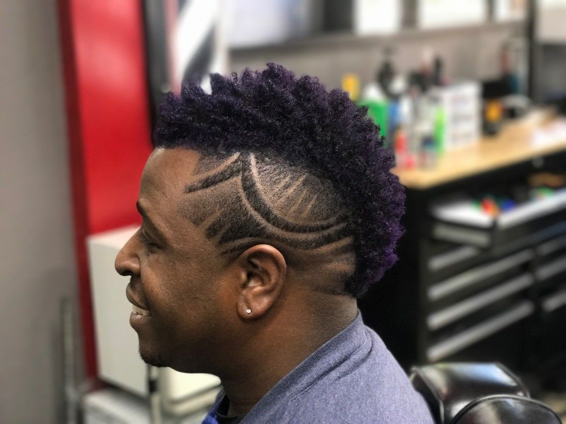 Freestyle Purple Mohawk With Design Freestyle Haircuts Pinterest