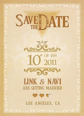 Art legendary save the date frontaka legend of zelda themed aka legend of zelda themed wedding invites stopboris Gallery
