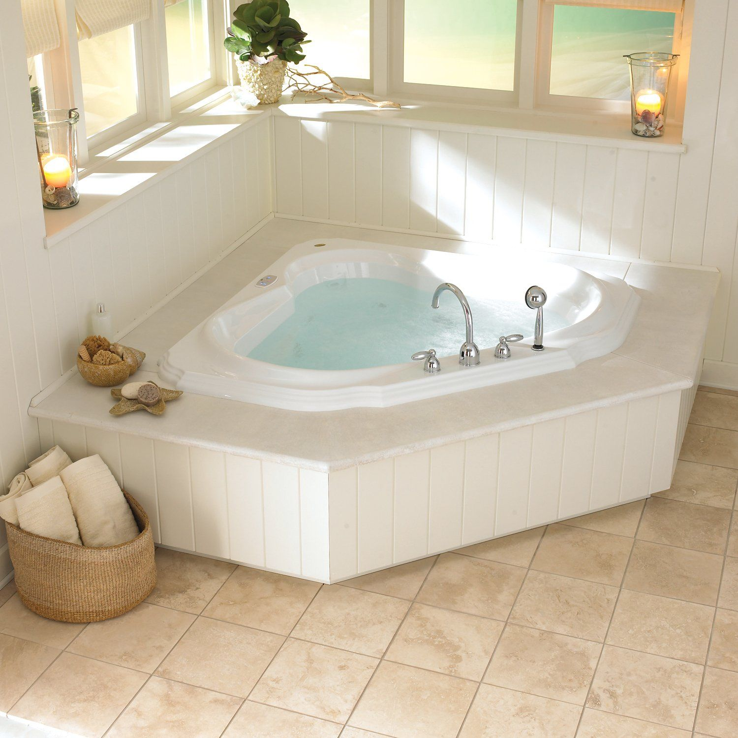 Our corner bathtub models are designed to fit nicely in a 60\