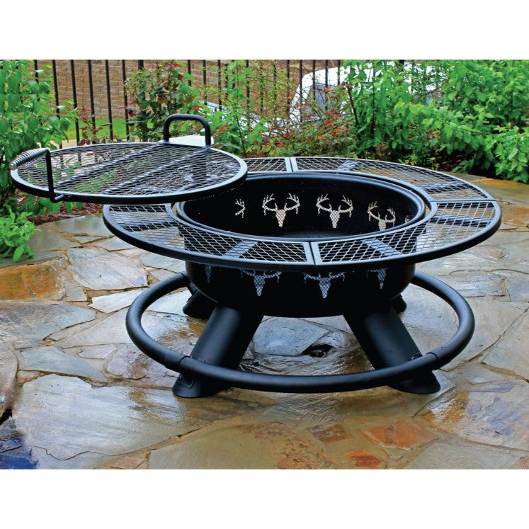 Big Horn King Ranch 47 In Black Steel Wood Burning Fire Pit By Big