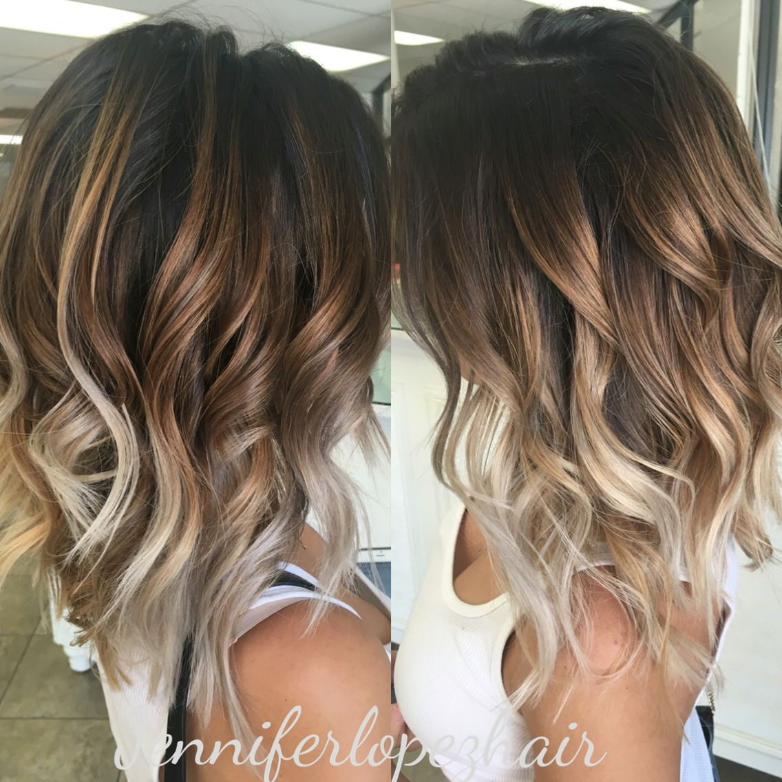 Ash Blonde Balayage Two Toned Hair Brunette Hair Color Ombre Hair Color For Brunettes Cool Hairstyles