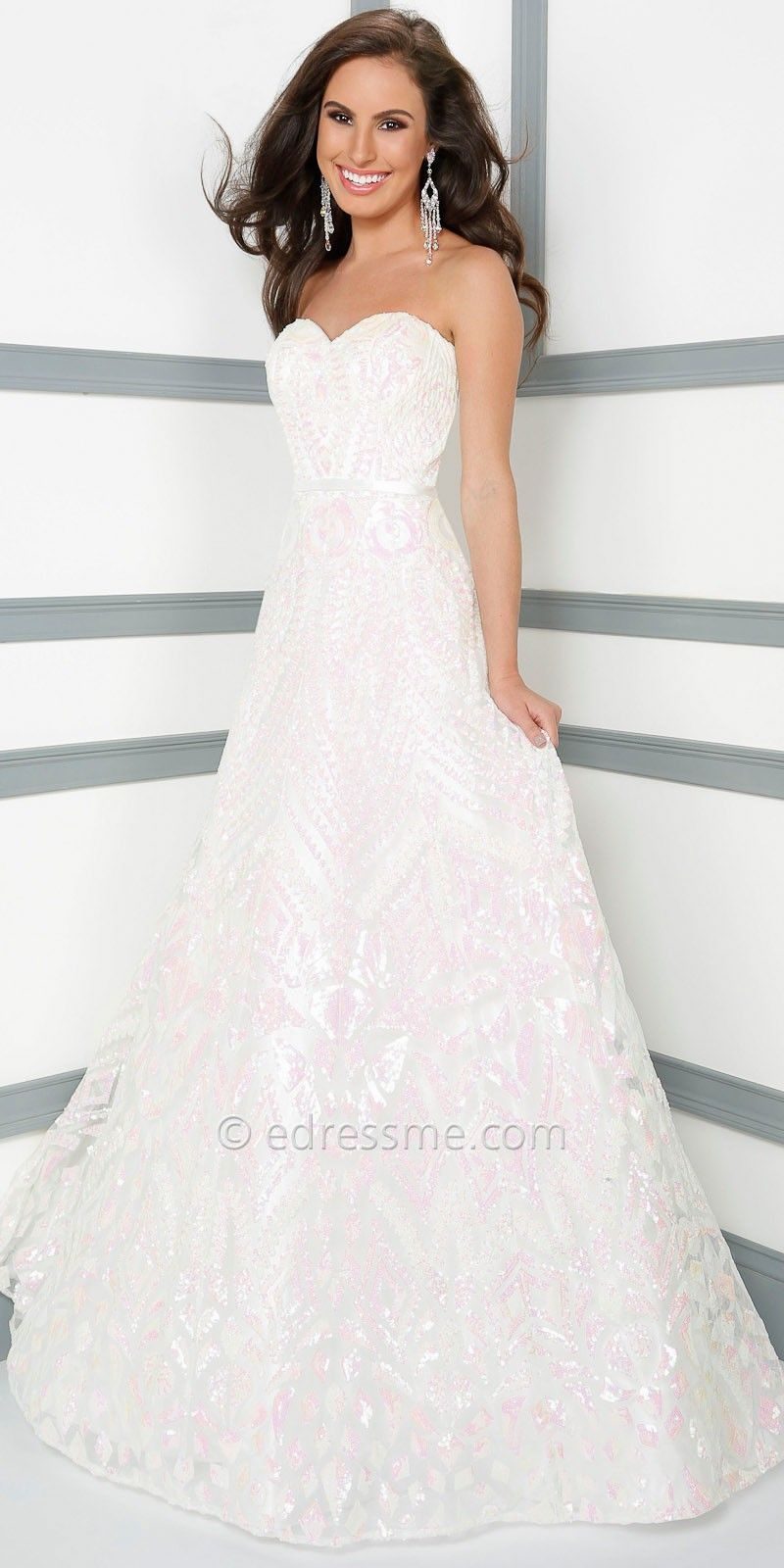 Iridescent sequin prom dress by mon cheri le gala white for wear