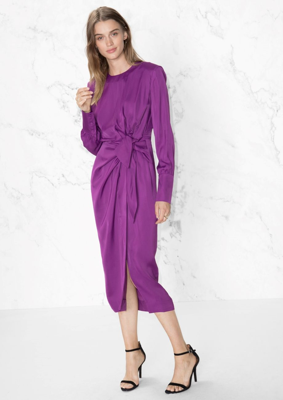 a06d1cb8a1e   Other Stories image 1 of Knotted Front Open Back Dress in Purple ...