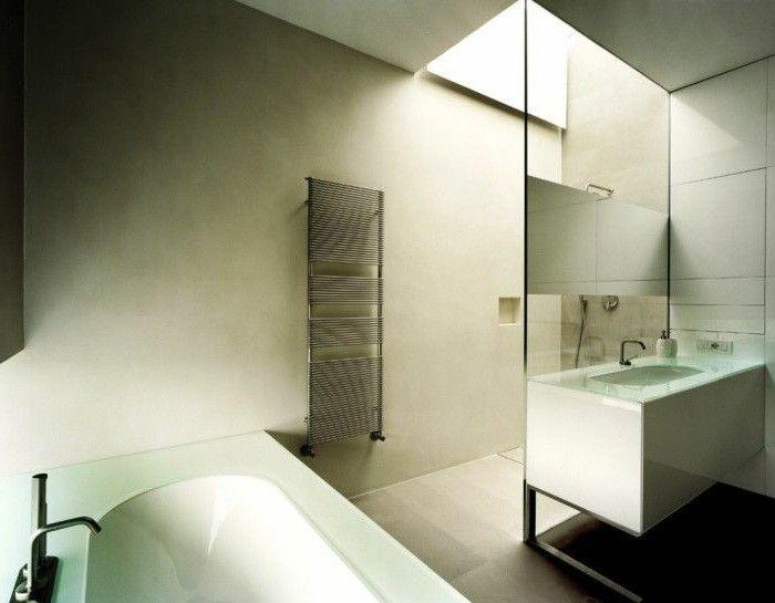 pareti-bagno-pittura-colore-chiaro-contesto-moderno-essenziale ...