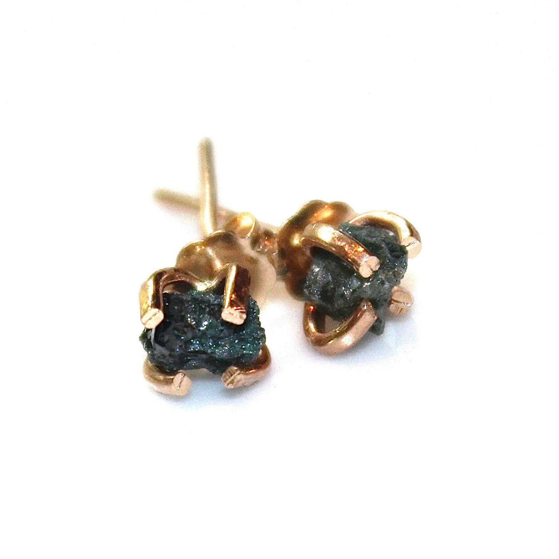 Raw Diamond Earrings Blue Diamonds Rough Diamond Studs Real