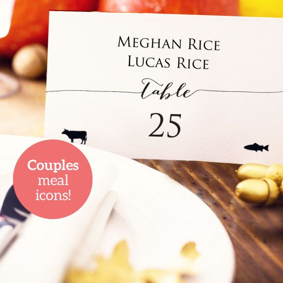 Couples Place Card With Meal Icons Wedding Pdf By Crossvinedesigns