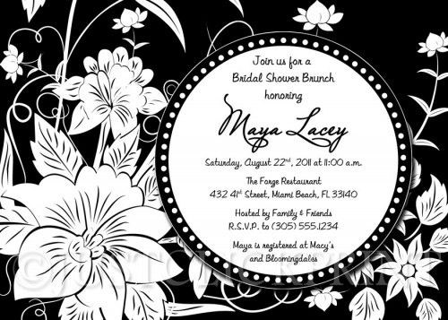 Black White Floral Bridal Shower or Birthday Invitation
