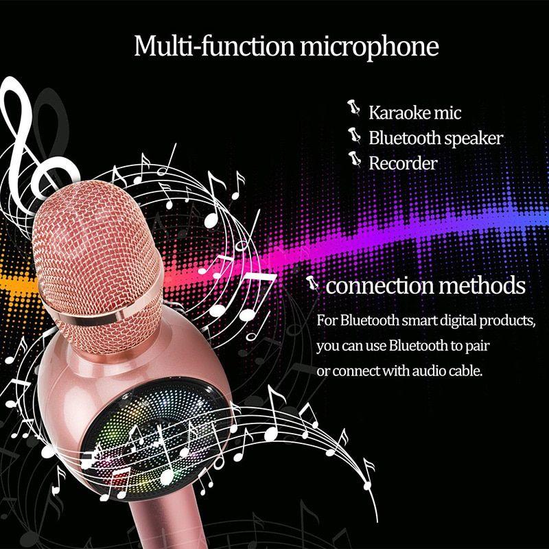 Wireless Bluetooth Karaoke Microphone, 3-in-1 portable handheld karaoke mic karaoke player multi-function LED light