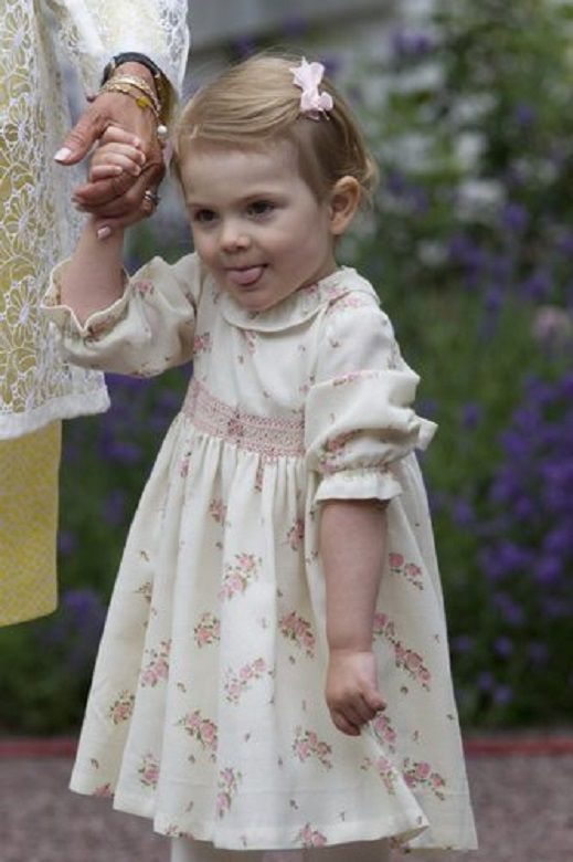 Swedish little Princess Estelle during the 37th birthday celebration of her mother Crown Princess Victoria at the courtyard of the Swedish Royal Family's summer residence Solliden, on 14 July 2014.