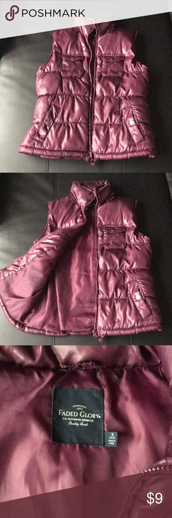 Maroon Vest Like new!  Very warm. Perfect for a snow day!  Any measurement questions, just ask Faded Glory Jackets & Coats Puffers
