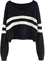 Floerns Women's Long Sleeve Striped V Neck Crop Tops Sweater Jumper