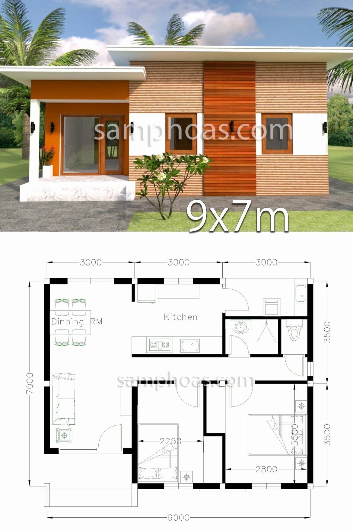 Home Design 3d Awesome Plan 3d Home Design 9x7m 2 Bedrooms Samphoas Plansearch Projetos De Casas Pequenas Projetos De Casas Populares Projectos De Casas