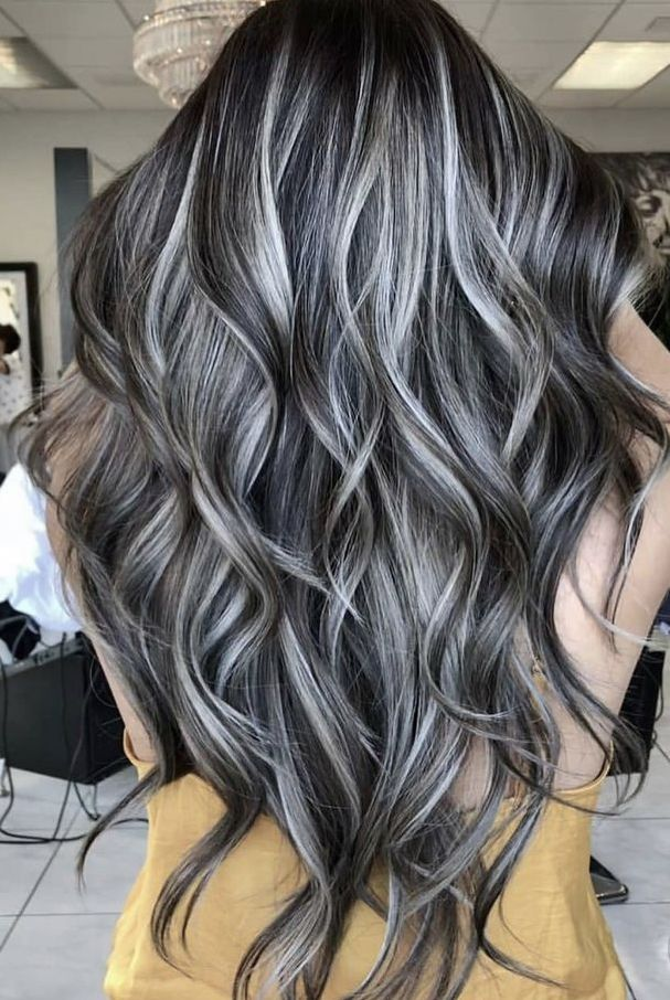 Blonde Highlights On Dark Brunette Base Long Hair Hair Styles Gray Hair Highlights Long Hair Styles