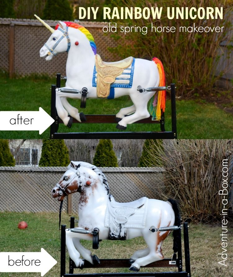 Give A Makeover To An Old Spring Horse And Turn It Into A Bouncy Rainbow Unicorn It Is A Fun Upcycling Project For Kids Spring Horse Rocking Horse Diy Horses